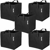 iPower 5-Pack Square Grow Bags Thick Fabric Planting Pots with Handles for Garde