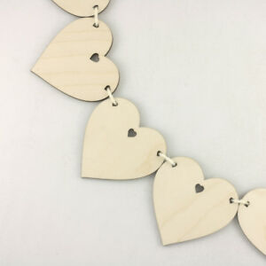 Wooden BUNTING HEARTS for Wedding Special Occasion Decoration or Wall Hanging