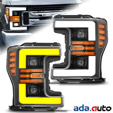 Polished Black Sequential Signal Projector Headlights for 17-19 Ford  Super Duty