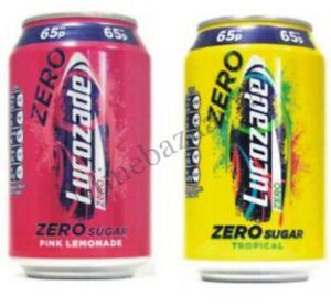 Lucozade Energy Zero Tropical, Zero Pink Lemonade 24 x 330ml PM 65p