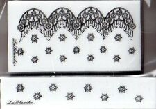 New LA BLANCHE Silicone Rubber Stamp Set of 2 lace patterns free USA ship