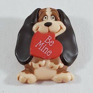 💕 Vintage 1986  Hallmark  Holiday Valentine  Plastic Pin Brooch Be Mine Dog