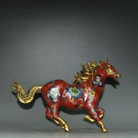 "9.6"" Old Chinese Cloisonne Copper Dynasty Running Horse steed Statue Sculpture"