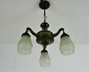 Gothic Brass Dragon Heads 3 Arms Lights Chandelier Lamp Art Deco Glass Shades