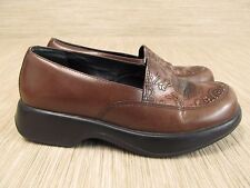Dansko Brown Leather Floral Print Shoes Women's Size 11-12 EUR 42 Wedge Loafers
