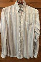Lucky Brand 100% Linen Button Front Long Sleeve White Blue Shirt Men's Medium