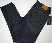 NWT $189 True Religion Geno Relaxed Slim Jeans Mens Size 34 Dark Blue NEW