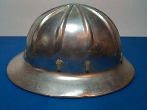 Vintage 1959 Aluminum Wide Brim Hard Hat Leather lining