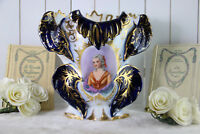 French Vieux paris Victorian lady portrait  Centerpiece Vase 1900