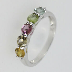 Genuine Natural Multi Color Tourmaline Sterling Silver Band Ring