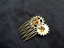Bronze streampunk amber crystal hair comb bridesmaid prom party fascinator