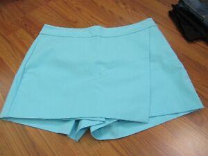 CROWN & IVY, WOMEN'S NEW SKY BLUE COTTON BL SIDE ZIP SOLID CAREER SKORT, SIZE 14