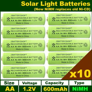 10 x AA 1.2V 600mAh NiMH Rechargeable Solar Light Batteries - NiMH replaces NiCd