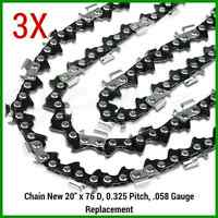 """3X Chainsaw Chains 325 058 76DL for Baumr-Ag SX62 for 20"""" bar QUALITY PREMIUM"""