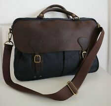 Barbour Navy Blue & Brown Wax Leather Briefcase Bag with Detachable Strap