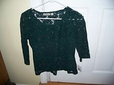 NWT John Paul Richard 3/4 Sleeve Sheer Lace Top Size S Green Floral