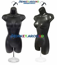 Female Model Mannequin +1 Stand 1 Hook, Black Form- Dress Display Women Clothing