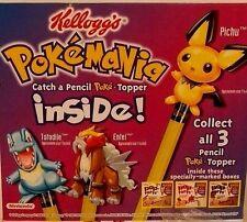 SET 3 POKEMON Pencil Topper KELLOGGS pop-tart PICHU TOTODILE ENTEI poptarts