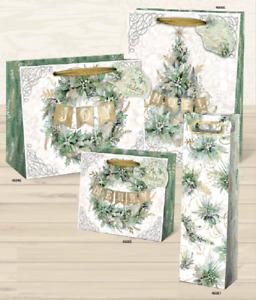 Punch Studio H8 Christmas Gift Bag 2pc Set - Winter Greens Choose Size