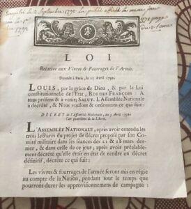 VIVRES ET FOURRAGES DE L'ARMÉE . 1792.