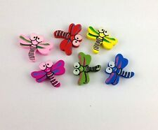 30 PCS Mixed colours wooden dragonfly Beads *20768