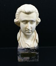 Vintage Italian Alabaster / Resin Mix Bust of Mozart on Marble Stand
