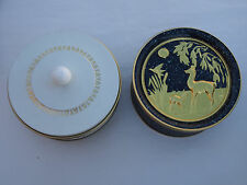 Round Gold White Metal Candy Tin Guildcraft & Deer Gold White New York Usa
