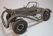 Old Folk Art Metal Wire Handmade Car Buggy Auto Sculpture Toy working steering