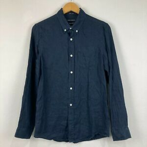 French Connection Mens Linen Button Up Shirt Size XS Blue Long Sleeve 232.16