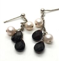 Vintage Sterling Silver Earrings 925 Dangle Pearl Garnet