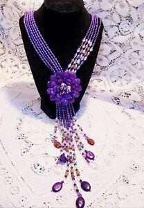IOB Joan Rivers Starlet Style Purple Bead Statement Necklace