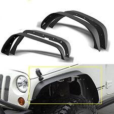 4PCS Black Steel Front & Rear Flat Fender Flares for Jeep Wrangler 07-18 JK 4Dr