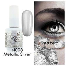 SYSTER 15ml Nail Art Soak Off Color UV Lamp Gel Polish N008 - Metallic Silver