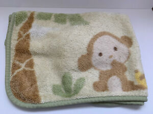 Carters Baby Blanket Monkey Palm Tree Yellow Clouds Blue Birds Luxe Plush Throw