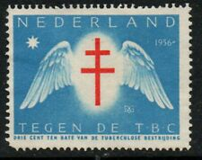"""Netherlands 1956, blue & red """"TB"""" Charity Stamp mint, no gum."""