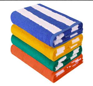 """SPRINGFIELD LINEN 4 PACK BEACH TOWEL CABANA STRIPE 30""""X60"""""""