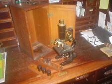 ANTIQUE BAUSCH & LOMB MICROSCOPE + WOOD BOX + KEY + SPENCER LIGHT + LENS PAPERS