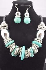 Chunky Turquoise Donut Shape Silver Metal Faux Leather Pendant Necklace Set