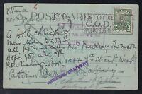 Canada 1928 NOT CALLED FOR & RETURNED 2c Scroll Ottawa ro Calgary Postcard