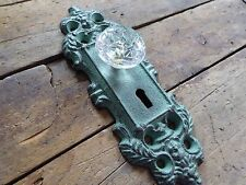 Cast Iron Metal Teal Patina Door Plate with Crystal Knob Skeleton Key Wall Hook