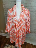 NEW CHICOS SZ 3 IKAT Summer Linen Jacket Orange White $139 Large 16-18 FAST SHIP