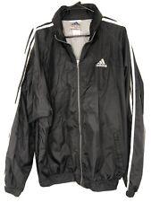 Vintage Adidas Wind Breaker W/Hood Rain Jacket Sports Black XL EUC