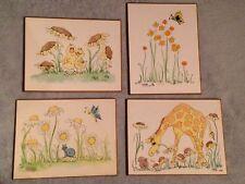 LOT OF 4 VINTAGE HILDI JAKSON INTERNATIONAL 1974 WALL ART BABY KIDS ROOM