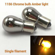 2X S25 1156 BA15S 1141 3497 Amber Chrome Bulb Rear Signal Light for Dodge
