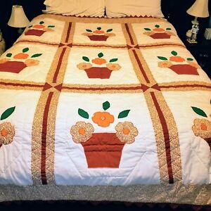 Vtg Hand Quilted Quilt Queen Bedspread Heirloom Flower Pot Orange Terracotta
