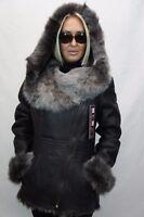 BROWN 100% Sheepskin Shearling Leather Long Hair Toscana Jacket Coat Hood XS-7XL