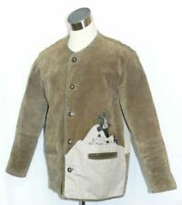 "LEATHER Men Sport JACKET Coat Men German Winter Hunting Ranch BROWN C45"" Large"