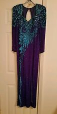 Long Sleeve Alyce Designs Sz 10 Prom Dress in Royal Purple/Shoes/Accessories
