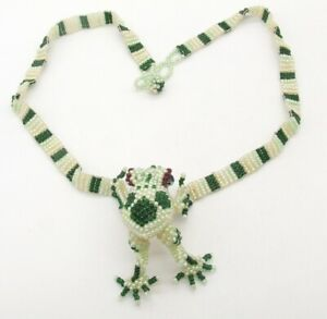 """16"""" Green Spotted Frog Beaded Choker White Pearl Seed Bead Necklace Red Eye"""