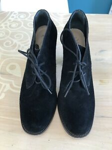 Wittner Black Suede Lace Up Booties. Size 39